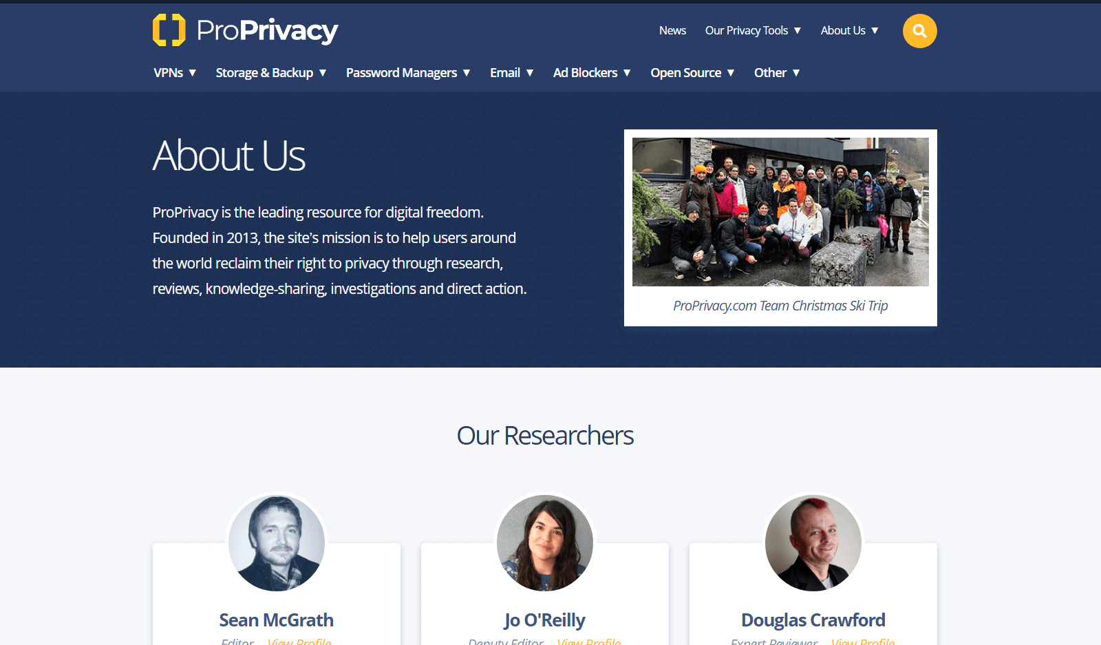 Screenshot of ProPrivacy's About Page
